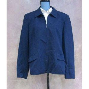 Vintage Talbots Blue Wool Zip Front Blazer Size 16